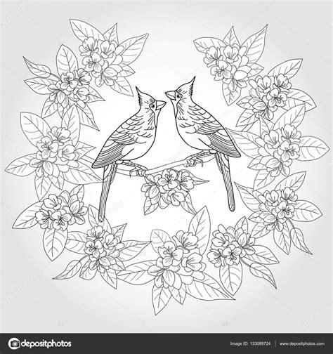 2 Vogels Kleurplaat by Kleurplaat Voor Volwassenen Met Vogels En Bloemen