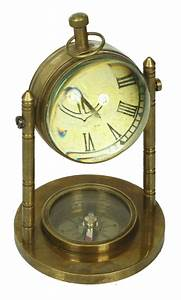 Dice Chart 5 Marine Table Clock With Compass In Brass Antique Look