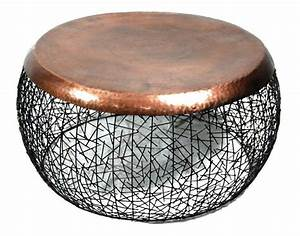 Round metal copper drum coffee table for Round metal drum coffee table
