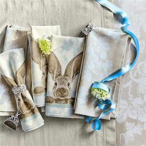 damask bunny napkins set   williams sonoma au