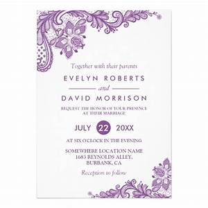 elegant lace lavender purple white formal wedding card With free wedding invitation templates lilac