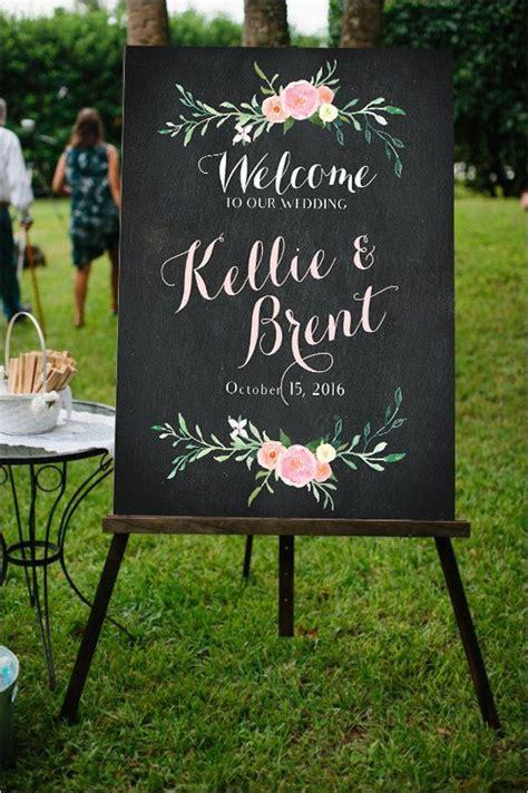 wedding sign chalkboard floral customizable