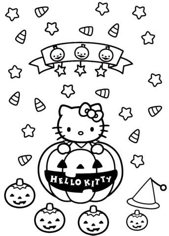 Hello Kitty Halloween coloring page Free Printable