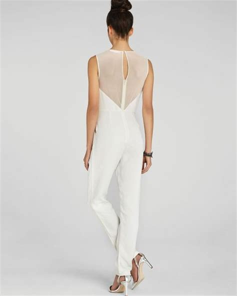 winter white jumpsuit bcbgeneration jumpsuit structured sheer in white winter