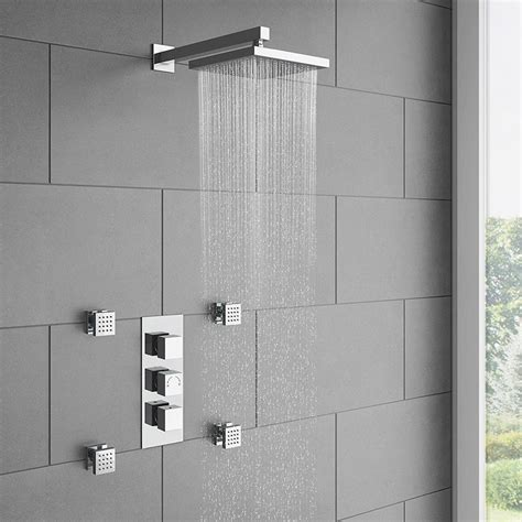 milan square concealed triple shower valve  fixed head