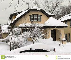 Typical Wisconsin House After Heavy Snow Fall Stock Photo ...