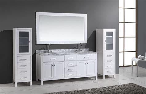 double vanity with linen cabinet 72 quot london double sink vanity set in white with two