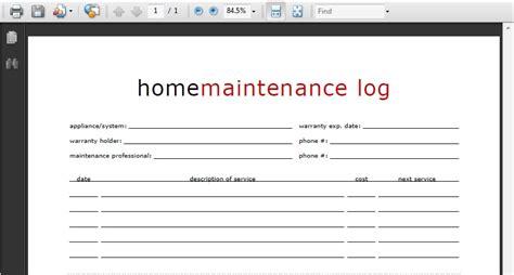 printable home maintenance log life