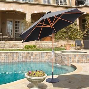 Galtech 9-ft  Rotational Tilt Wood Patio Umbrella