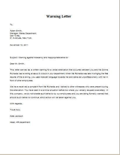 sample warning letter  employee  harassment letters