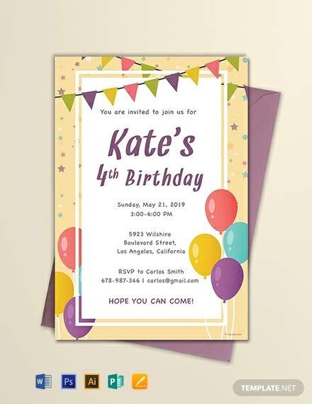 5th birthday invitation card template 128 free birthday invitation templates word psd