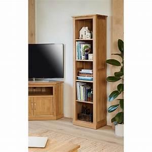 Baumhaus Mobel Light Oak Modern Tall Narrow Bookcase COR01D