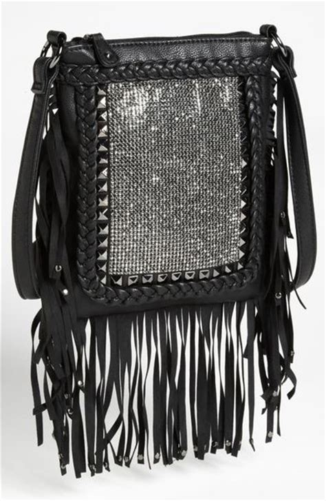 steven  steve madden fringe crossbody bag  black start  color list black lyst