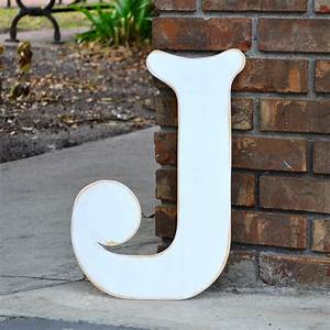 18 wooden letter j elegant font in distressed white With wooden letter j