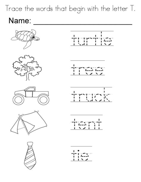 letter t coloring pages to and print for free 741 | trace the words that begin with the letter t coloring page