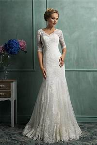 modest mermaid scalloped neck short sleeve vintage lace With modest mermaid wedding dresses