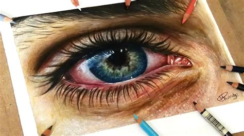 speed drawing drawing  realistic eye  coloured pencil