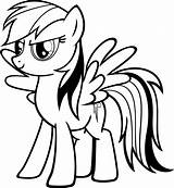 Coloring Pages Rainbow Dash Printable Pony sketch template