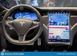 Interior Dashboard Tesla Model S P100D Electric Car Editorial Photography - Image of p100d ...