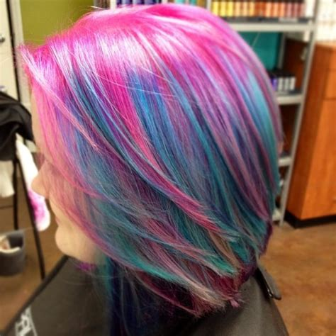 Pink And Blue Bobbed Hair Hair Colors Ideas