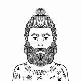 Beard Coloring Handsome Sketch Hipster Doodle Stylish Portrait Casual Element Illustrazione Modieuze Kleurend Baard Portret Knappe Toevallige Schetskrabbel Mens Bassa sketch template
