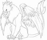 Lineart Griffin Griffon Base Coloring Gryphon Template Deviantart Nouveaux Sketch Templates sketch template