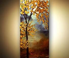 landscape painting vertical blooming golden tree painting 6106