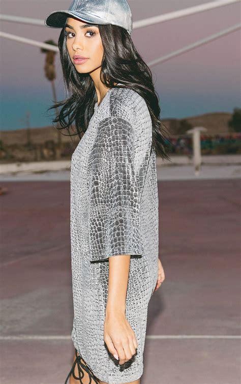 Isabelle Grey Animal Embossed Velvet Jumper Dress | Dresses | | PrettyLittleThing