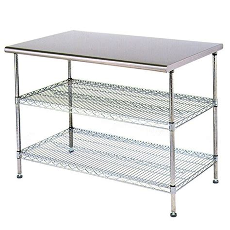 stainless steel work table with two shelves stainless steel work table food prep 24 x 48 with 2 chrome
