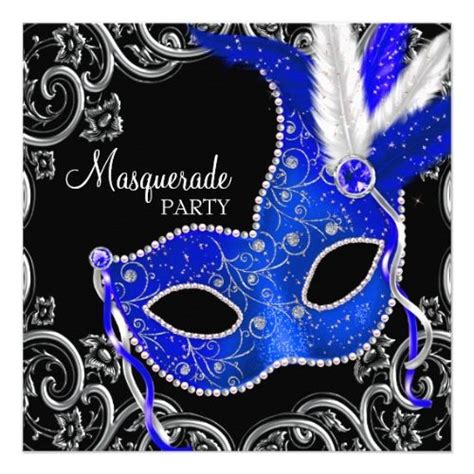royal blue  black masquerade party invitation zazzle