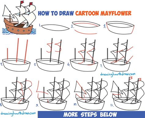 Cartoon Mayflower Boat by How To Draw Cartoon Mayflower Ship For Thanksgiving Easy