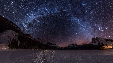 The Night Sky At Emerald Lake Bc On A Cold Winter Night