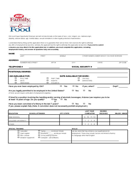 iga application form free