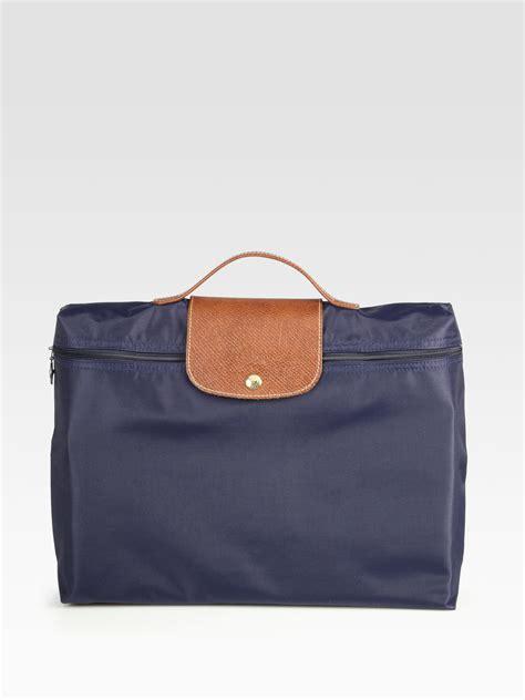 lyst longchamp pliage briefcase  blue