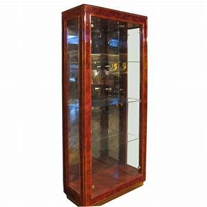 LACQUERED WOOD AND GLASS DISPLAY CABINET BY MASTERCRAFT at