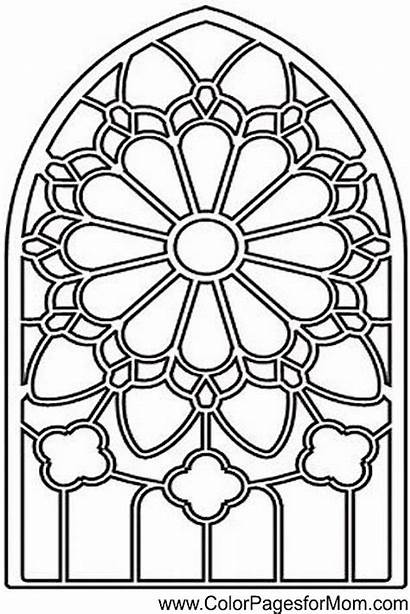 Coloring Stained Glass Medieval Window Vidrieras Patterns