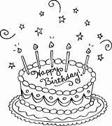 Coloring Birthday Cake Printable sketch template