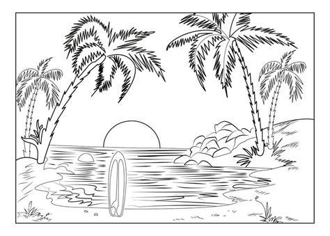 Landscape Coloring Pages Beach Sunset Coloringstar