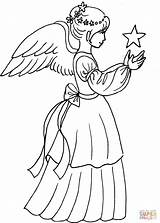 Angel Coloring Christmas Drawing Star Angels Simple Pages Printable Supercoloring Adult Colouring Drawings sketch template