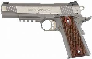 Colt 1911 Stainless 9mm Rail Gun With Diamond Checkered Rosewood Grips  Le