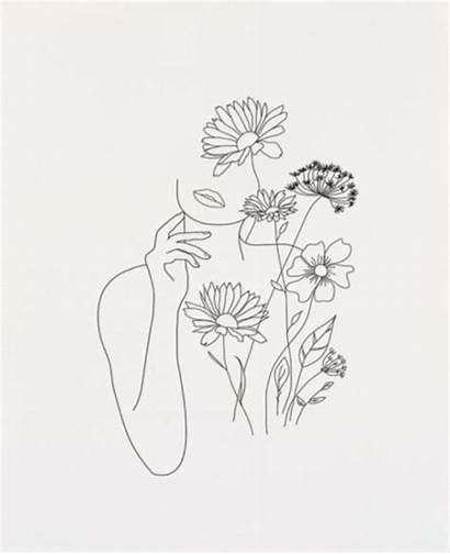 Line Drawing Woman Flowers Minimal Nadja Minimalist
