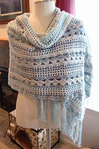 Gorgeous  U0026 Handmade Rectangular Shawl Wrap Crochet Blue
