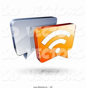 3d Vector Clipart of a 3d Orange RSS Chat Box in Front of ...