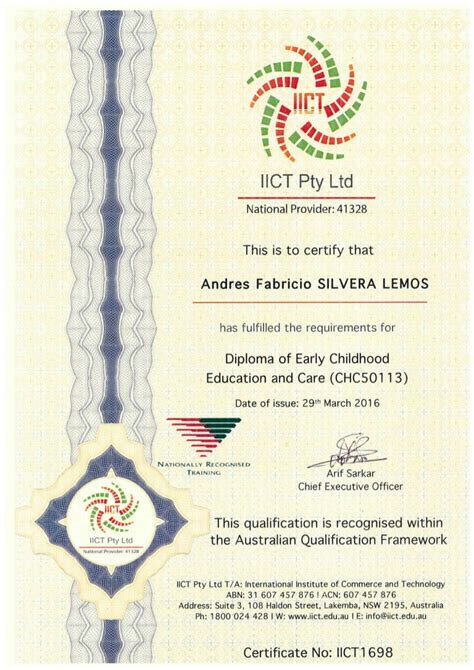 certificate diploma  early childhood education  care