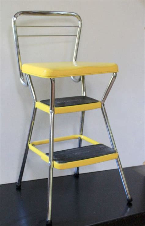 Cosco Step Stool Chair Vintage by Vintage Yellow Cosco Step Stool Chair