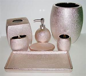 6 pc set caro shiny metallic rose goldpink soap dispenser for Beekman home bathroom accessories