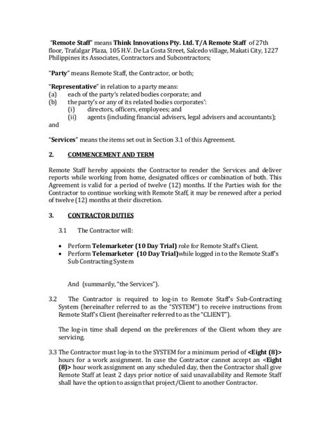 independent contractor agreement full time