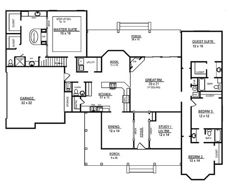 4 bedroom floor plans 2 4 room house plans home plans homepw26051 2 974 square