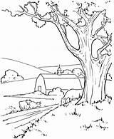 Village Coloring Farm sketch template