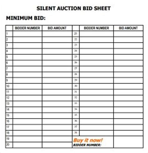 silent auction bid sheet template  word templates